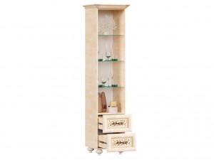 Шкаф-витрина однодверный (версия 2020) с карнизом и фигурными ножками, высота 2125мм. - 618.100