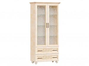 Шкаф-витрина двух-дверный (версия 2020) с карнизом и фигурными ножками, высота 2125мм. - 618.110