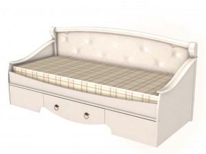 Кровать-тахта,  со спальным местом 80*190, без матраса и с мягкой спинкой и с ящиком - ЛД 642.470