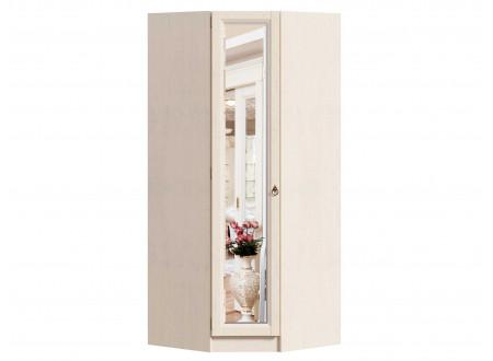 Угловой однодверный шкаф с зеркалом, с полками и штангой внутри - ЛД 642.233.L - (петли двери СЛЕВА)
