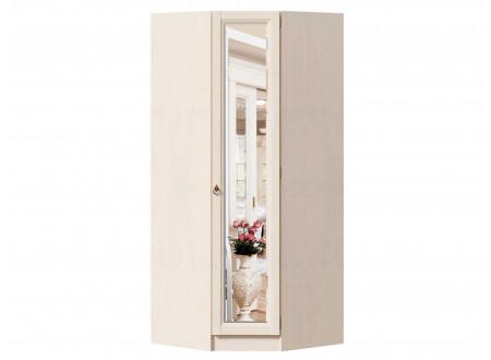 Угловой однодверный шкаф с зеркалом, с полками и штангой внутри - ЛД 642.233.R - (петли двери СПРАВА)