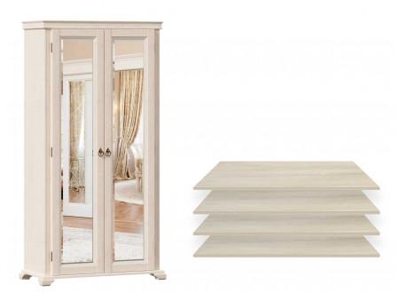 2-х дверный шкаф с 2-мя зеркалами, с 4-мя ПОЛКАМИ из лдсп - ЛД 642.012