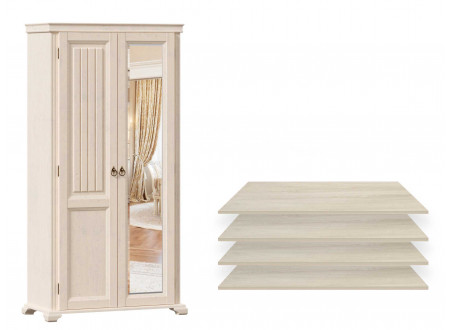 2-х дверный шкаф с одним зеркалом СПРАВА и с 4-мя ПОЛКАМИ из лдсп - ЛД 642.012.R