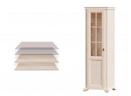 1-дверный шкаф, дверь СТЕКЛО, с 2-мя полками ЛДСП и 2-мя полками СТЕКЛО - ЛД 642.045 (петли двери СЛЕВА)