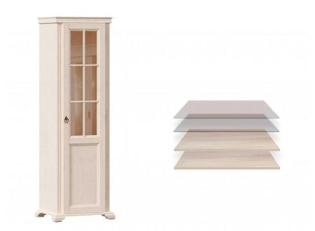 1-дверный шкаф, дверь СТЕКЛО, с 2-мя полками ЛДСП и 2-мя полками СТЕКЛО - ЛД 642.046 (петли двери СПРАВА)