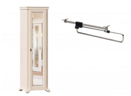 1-дверный зеркальный шкаф, со ШТАНГОЙ для одежды - ЛД 642.303.R (петли двери СПРАВА)
