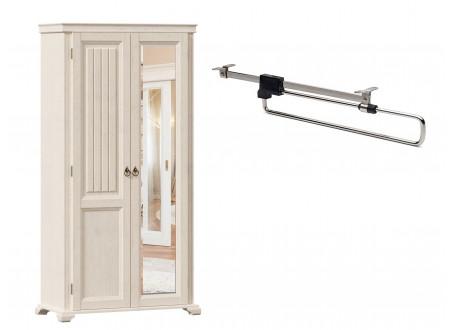 2-х дверный шкаф с одним зеркалом СПРАВА и со ШТАНГОЙ для одежды внутри, без полок - ЛД 642.305.R