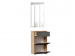 Тумба для обуви с вертикальным настенным зеркалом - (659.340.390.A)
