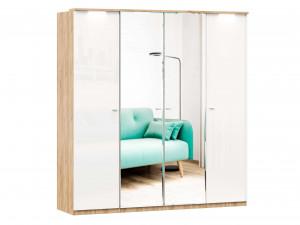 Шкаф 4х-дверный с зеркалами в ЦЕНТРЕ, с полками по бокам и со штангой - (659.224.238.224)