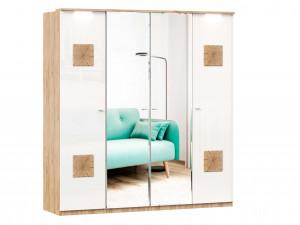 Шкаф 4х-дверный с зеркалами в ЦЕНТРЕ, с декором, с полками по бокам и со штангой - (659.225.238.225)