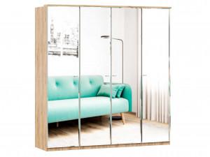 Шкаф 4х-дверный с зеркалами, с полками по бокам и со штангой - (659.226.238.226)