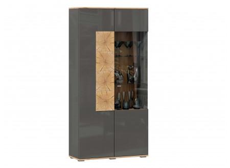 Шкаф 2х-дверный шириной 920 мм. с полками СЛЕВА и с витриной СПРАВА - (659.110.А)