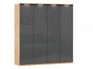 Шкаф 4х-дверный с полками по бокам со штангой в центре - (659.221.231.221)