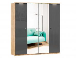 Шкаф 4х-дверный с зеркалами в ЦЕНТРЕ, с полками по бокам и со штангой - (659.221.233.221)