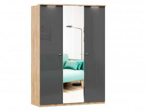 Шкаф 3х-дверный с зеркалом в ЦЕНТРЕ и с полками СЛЕВА и со штангой - (659.221.234)