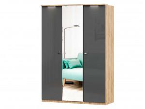 Шкаф 3х-дверный с зеркалом в ЦЕНТРЕ и с полками СПРАВА и со штангой - (659.234.221)