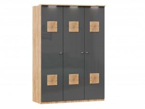 Шкаф 3х-дверный с декором, с полками СЛЕВА и со штангой - (659.222.232)