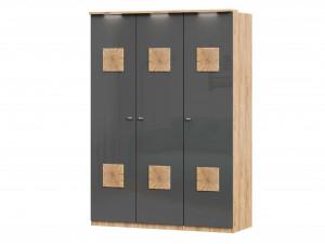 Шкаф 3х-дверный с декором, с полками СПРАВА и со штангой - (659.232.222)