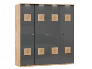 Шкаф 4х-дверный с декором, с полками ПО БОКАМ и со штангой В ЦЕНТРЕ - (659.222.232.222)