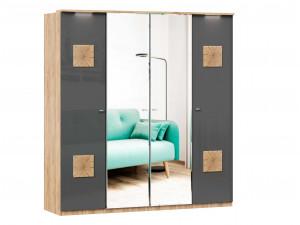 Шкаф 4х-дверный с зеркалами в ЦЕНТРЕ, с декором, с полками по бокам и со штангой - (659.222.233.222)