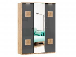 Шкаф 3х-дверный с декором с зеркалом в ЦЕНТРЕ и с полками СЛЕВА и со штангой - (659.222.235)