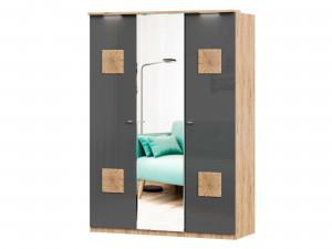 Шкаф 3х-дверный с декором с зеркалом в ЦЕНТРЕ и с полками СПРАВА и со штангой - (659.235.222)