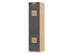 Шкаф 1-дверный с 6-ю полками со штангой и с накладками на двери - петли СПРАВА - (659.222.R)
