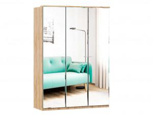 Шкаф 3х-дверный с зеркалами, с полками СЛЕВА и со штангой - (659.223.233)
