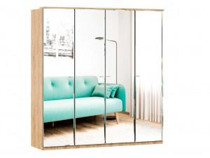 Шкаф 4х-дверный с зеркалами, с полками по бокам и со штангой - (659.223.233.223)