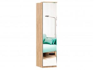 Шкаф 1-дверный зеркальный с 6-ю полками и со штангой - петли СЛЕВА - (659.223.L)
