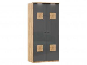 Шкаф 2х-дверный с декором, с 3-мя полками и со штангой (659.232)