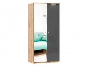 Шкаф 2х-дверный с зеркалом СЛЕВА, с 3-мя полками и со штангой - (659.234.L)