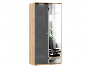 Шкаф 2х-дверный с зеркалом СПРАВА, с 3-мя полками и со штангой - (659.234.R)