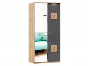 Шкаф 2х-дверный с зеркалом СЛЕВА и с декором СПРАВА, с 3-мя полками и со штангой - (659.235.L)