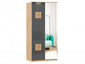 Шкаф 2х-дверный с зеркалом СПРАВА и с декором СЛЕВА, с 3-мя полками и со штангой - (659.235.R)