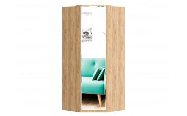 Угловой зеркальный  шкаф, 1-дверный с полками и штангой - ЛД 659.246.L - фабрика мебели Любимый дом