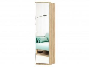 Шкаф 1-дверный зеркальный с 6-ю полками и со штангой - петли СПРАВА - (659.226.R)
