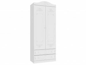 Двух-дверный шкаф со штангой и 2-мя ящиками внизу - 525.030