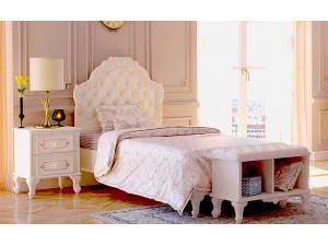 Кровать с мягким изголовьем с подъёмной решеткой и без матраса, сп. место 160*200 - 665.341