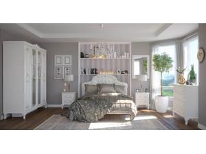 Кровать 120*200 с резным изголовьем с мягкой вставкой, без решетки и без матраса - 665.292