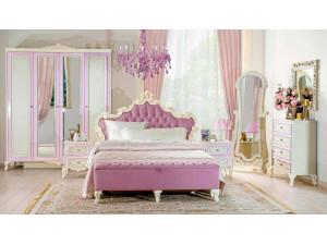 Кровать с резным изголовьем с мягкой вставкой, без решетки и без матраса, сп. место 160*200 - 517.343