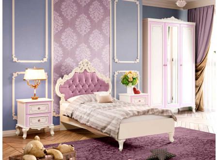 Кровать с резным изголовьем с мягкой вставкой, с решеткой и без матраса, сп. место 120*200 - 517.095