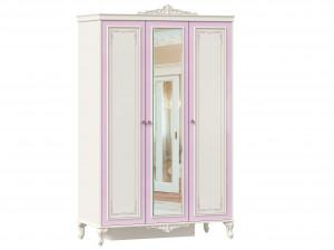 Трех-дверный шкаф с полками и со штангой и с зеркалом - 517.074