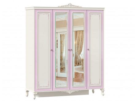 Четырех-дверный шкаф с полками и со штангой и с 2-мя зеркалами - 517.114