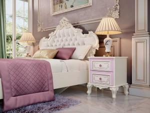 Кровать с резным изголовьем с мягкой вставкой, без решетки и без матраса, сп. место 160*200 - 517.344