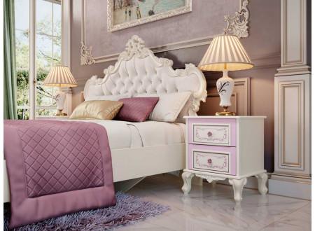 Кровать с резным изголовьем с мягкой вставкой, с решеткой и без матраса, сп. место 120*200 - 517.290