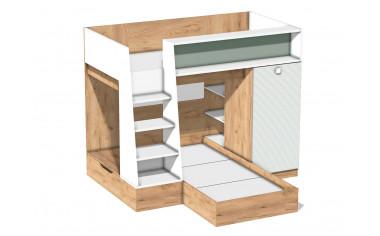 2-х ярусная кровать с лестницей и со встроенным шкафом - арт. 522.011