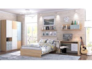 2-х ярусная кровать со шкафом, со стелажом и с тумбой, без матрасов - 522.011 (универсальная - L / R)