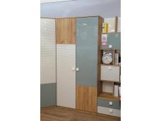 2х-дверный шкаф с 2-мя отделениями - со штангой и с полками - 522.041