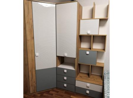 Одно-дверный шкаф с полками внутри и с 3-мя ящиками - 522.061 (универсальный ЛЕВО / ПРАВО)